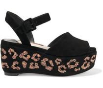 Suki Crystal-embellished Suede Platform Sandals Black