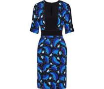 Cutout printed crepe dress