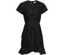 Cutout Ruffled Silk-organza Mini Dress Black Size 0