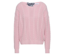 Bow-detailed Cable-knit Wool And Cotton-blend Sweater Baby Pink