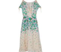Cold-shoulder silk-blend floral-jacquard dress