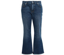 Cropped Mid-rise Flared Jeans Dark Denim  6