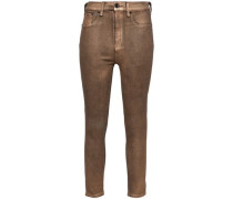 Cropped Metallic-coated High-rise Skinny Jeans Brass  8
