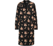 Floral-print Wool-blend Coat Black