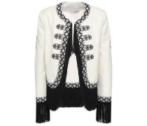 Fringe-trimmed Embroidered Twill Jacket Ivory