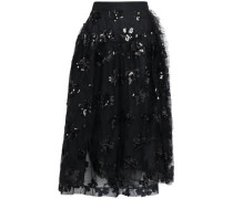 Sequined Embroidered Tulle Midi Wrap Skirt Black