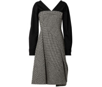 Layered Houndstooth Wool-blend And Cotton-blend Dress Black