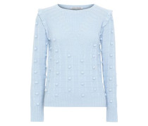 Pompom-embellished Textured-knit Sweater Sky Blue