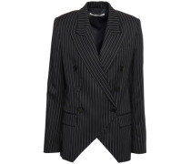 Double-breasted Wool-blend Twill Blazer Midnight Blue
