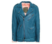 Shearling-lined Textured-leather Biker Jacket Storm Blue