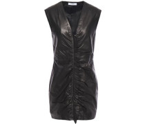 Woman Ruffle-trimmed Ruched Leather Mini Dress Black