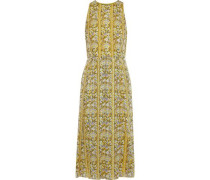 Woman Pleated Printed Burnout Georgette Midi Dress Yellow