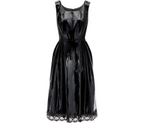 Lace-trimmed Pleated Vinyl Dress Black