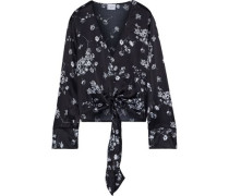 The Lila Tie-front Floral-print Silk-charmeuse Blouse Black