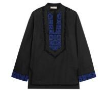 Embellished embroidered cotton-poplin blouse