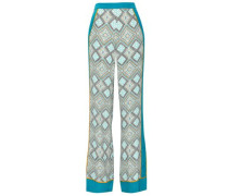 Printed Silk Crepe De Chine Wide-leg Pants Azure