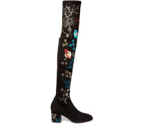 Metallic leather-appliquéd stretch-suede over-the-knee boots
