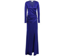 Woman Allegra Wrap-effect Gathered Satin-jersey Gown Royal Blue