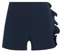 Kenzie Ruffle-trimmed Crepe Shorts Navy