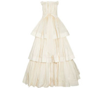 Bow-detailed strapless pleated woven gown