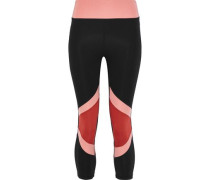 Cropped Color-block Stretch Leggings Black