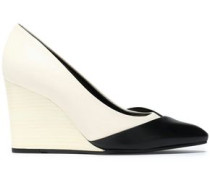 Two-tone matte and patent-leather wedge pumps