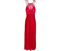 Lace-paneled Stretch-silk Satin Nightdress Red