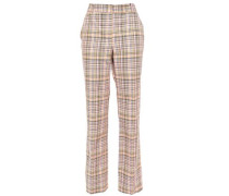 Woman Checked Woven Cotton Straight-leg Pants Baby Pink