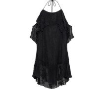 Woman Cold-shoulder Broderie Anglaise Gauze Dress Black