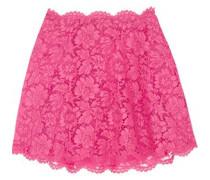 Layered lace and silk-organza mini skirt