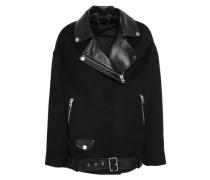 Leather-paneled Felt Biker Jacket Black