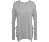 Ruffle-trimmed Knitted Sweater Gray
