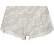 Lace-trimmed printed modal-blend pajama shorts