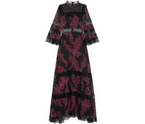 Paneled Chantilly Lace And Floral-print Silk-georgette Gown Black