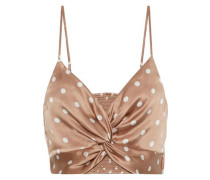 The Kensie Cropped Twist-front Polka-dot Silk-charmeuse Camisole Neutral
