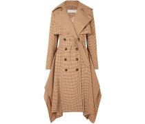Woman Draped Checked Woven Trench Coat Light Brown