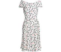 Printed Crepe Dress White