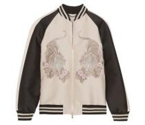 Lorinda embroidered faille bomber jacket