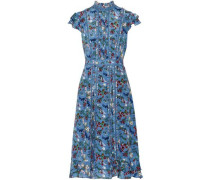 Marta ruffle-trimmed printed silk-georgette dress