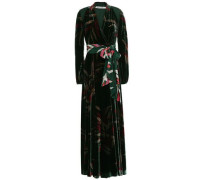 Wrap-effect Printed Velvet Maxi Dress Dark Green