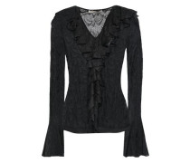 Ruffled Lace Blouse Black