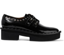 Bridget Eyelet-embellished Glossed-leather Platform Brogues Black