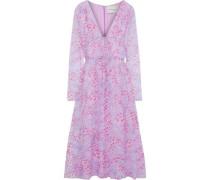 Bow-detailed Printed Silk-georgette Midi Dress Lilac