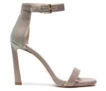 Cutout Lamé Sandals Platinum