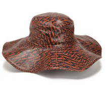 Printed Coated Leather Hat Light Brown