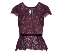 Velvet-trimmed corded lace peplum top