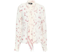 Pussy-bow Printed Silk Crepe De Chine Shirt Off-white