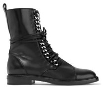 Chain-trimmed lace-up leather boots