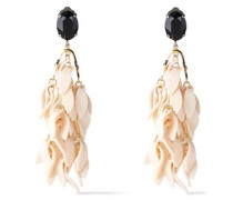 Silver And Gold-tone, Crystal And Resin Clip Earrings Ivory Size --
