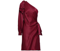 One-shoulder Ruched Cady Mini Dress Burgundy Size 0